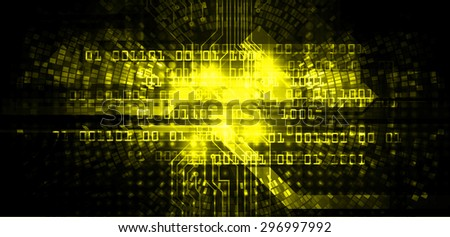 future technology, security concept background. vector.dark yellow Light Technology background for computer graphic website internet business. circuit. ray. pixel. one zero - stock photo