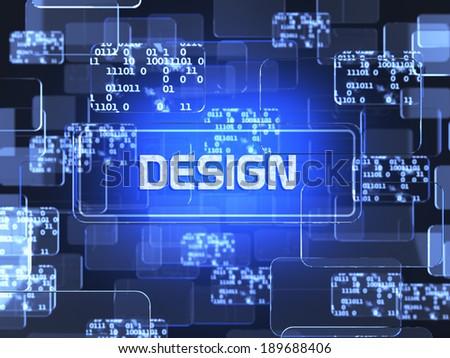 Future technology smart glass blue touchscreen interface. Design screen concept  - stock photo