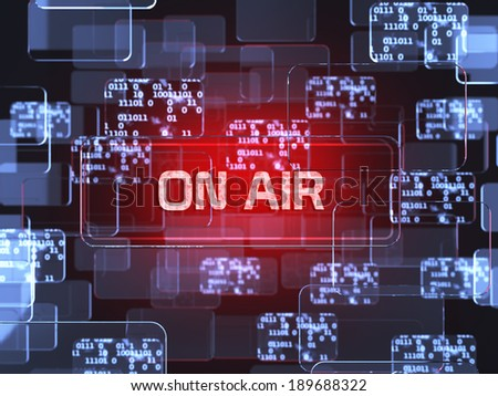 Future technology smart glass red touchscreen interface. On air screen concept  - stock photo