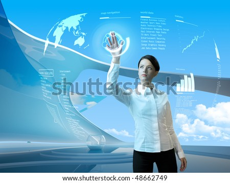 Future technology. Touch button interface. Attractive brunette with interface in futuristic interior  (outstanding business people in interiors / interfaces series) - stock photo