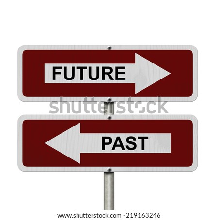 Future versus Past, Red and white street signs with words Future and Past isolated on white - stock photo