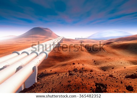 Future water industry on Mars. Giant pipeline, distant Martian Base and dome of a power shield