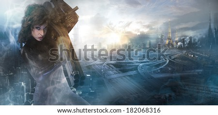 Future woman concept, black latex with neon lights over city �¢??�¢??destroyed - stock photo