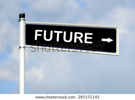 Future word on road sign on sky background