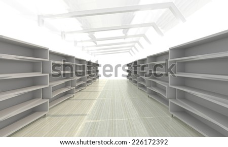 Futuristic abstract 3d illustration of storage room