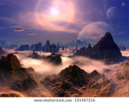 Futuristic Air Ships above Rocky Alien World - stock photo