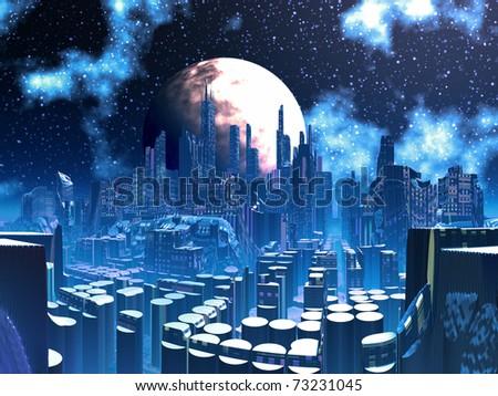 Futuristic Alien City built on Pylon Supports - stock photo