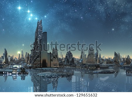 Futuristic Alien City By Night - Computer Artwork - stock photo