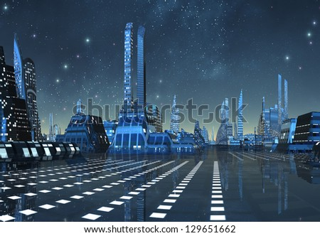 Futuristic Alien City By Night - Computer Artwork