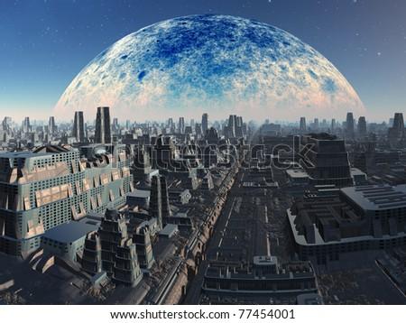 Futuristic Alien Industrial Cityscape - stock photo