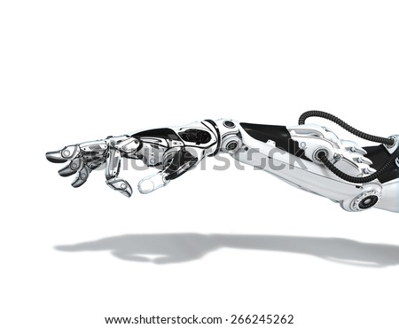Futuristic android hand with Pinched Fingers. Sci-fi technology design concept Of Robotic Arm. - stock photo