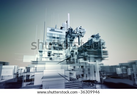 Futuristic architectural structure constructed with semi-transparent glass blocks - digital artwork - stock photo