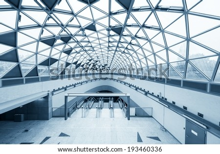 Futuristic architecture with large windows angle shot - stock photo