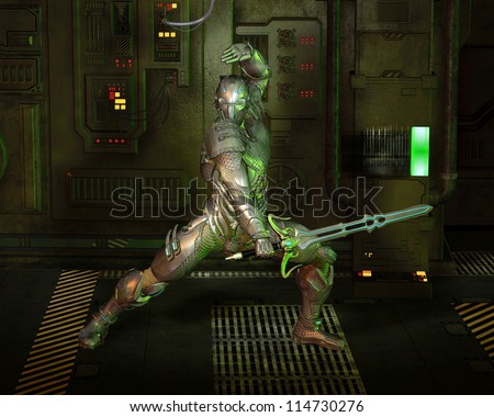 Futuristic armoured warrior knight with power sword in a dark corridor, 3d digitally rendered illustration - stock photo