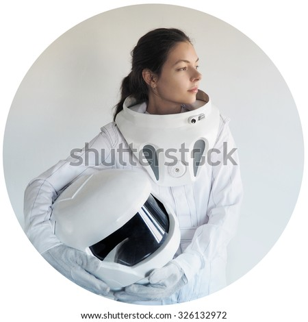 futuristic astronaut without  helmet,  white background in a circular frame - stock photo