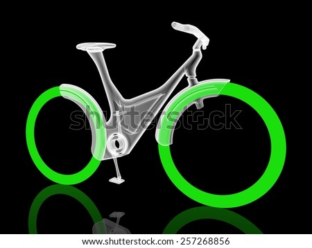 Futuristic bicycle on black background - stock photo