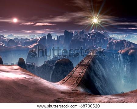 Futuristic Bridge on Alien World - stock photo