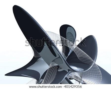 Futuristic building construction. 3D rendering - stock photo