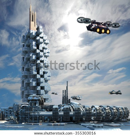 Futuristic city architecture with skyscraper, ring structure and hoovering aircrafts for futuristic, science fiction or fantasy backgrounds - stock photo