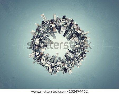 futuristic city around a ring isolated on blue background - stock photo