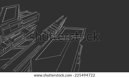 futuristic city buildings sketch