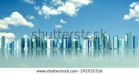 Futuristic city concept in blue sky background - stock photo