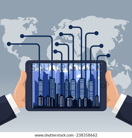 Futuristic city in modern device phone from different parts of world cartoon flat design style. Raster version - stock photo