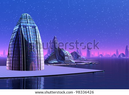 Futuristic Cityscape, fantasy city on an alien planet - stock photo