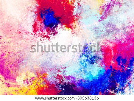 Futuristic color clouds. Artistic splashes of bright paints. Abstract painting pattern. Bright texture for creative graphic design. Summer background for interior, flyer cover, poster. Fractal art - stock photo