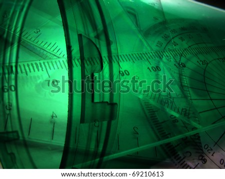 Futuristic components with measurement scales - stock photo