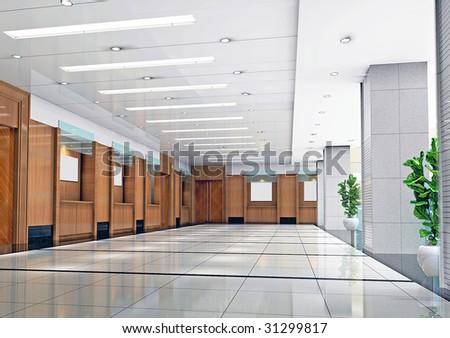 futuristic corridor modern office. 3D render - stock photo