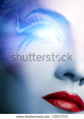 Futuristic cyber face with glowing eye - stock photo