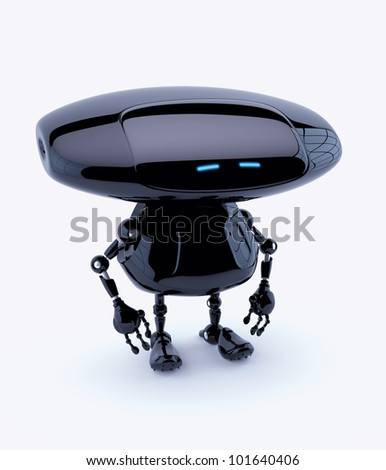Futuristic cyber toy with blue eyes and oval head