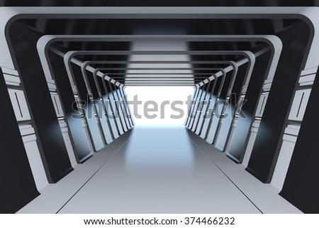 Futuristic dark tunnel - stock photo