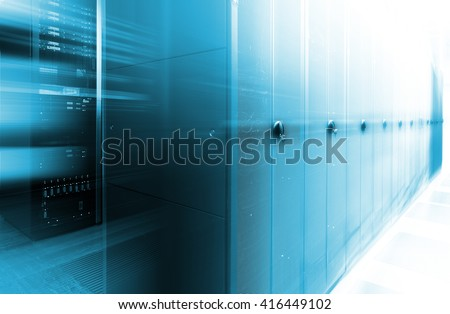 futuristic data center with rows supercomputers motion blur - stock photo