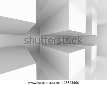 Futuristic Design Architecture Interior Background. 3d Render Illustration - stock photo