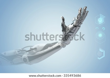 Futuristic design concept. A robotic mechanical arm looks like a human hand. Showing number three with fingers. Counting down sign gesture. Holographic icons as digital elements of virtual HUD - stock photo