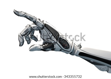 Futuristic design concept of a robotic mechanical arm . Cybernetic organism with Artificial Intelligence working with virtual world. Template Isolated on white background. - stock photo