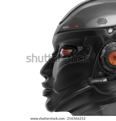 Futuristic Designed Female Android. Head Closeup. Isolated on white background. Cybernetic Technology.
