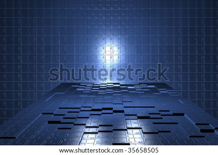 futuristic digital room, power tech background, digital industry,  technology of tomorrow, blue cells geometry, electronic room, technology wallpaper, futuristic steel geometry - stock photo