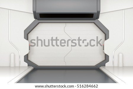 Futuristic door, gate or entrance in spaceship interior 3D rendering