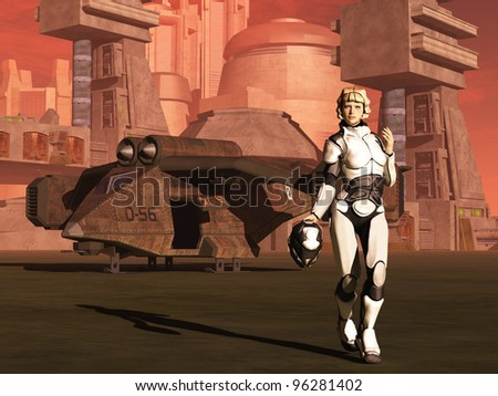 Futuristic female space pilot walks away from her shuttle carrying helmet on planet with red atmosphere and city in background - stock photo