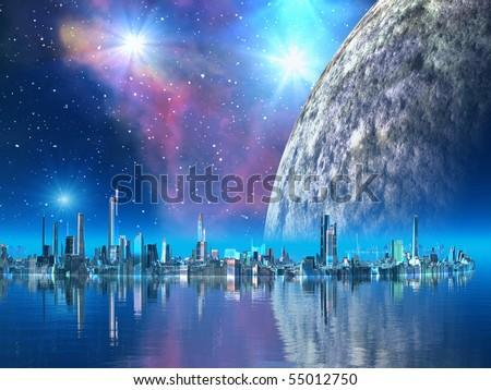 Futuristic Floating City - stock photo