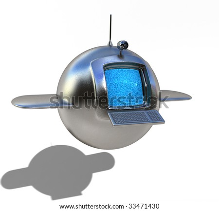 Futuristic flying media station, with easy to remove shadow - stock photo