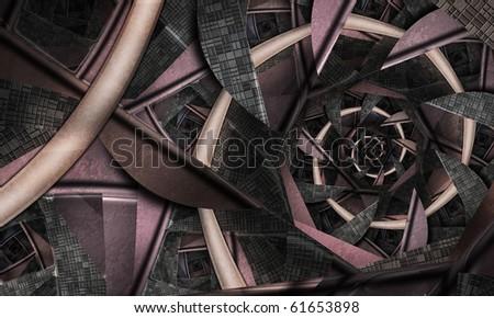 Futuristic Fractal Spiral - stock photo