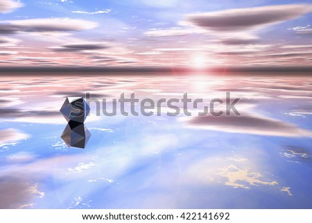 Futuristic geometric shape in a watery landscape at sunset. - stock photo