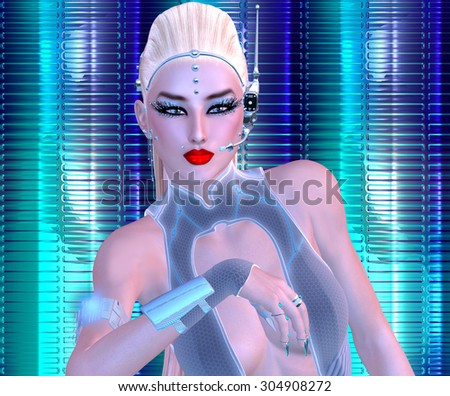 Futuristic girl with sci fi outfit, blonde hairstyle and glowing abstract background. A colorful backdrop with glowing light effect enhances this modern digital art image. - stock photo