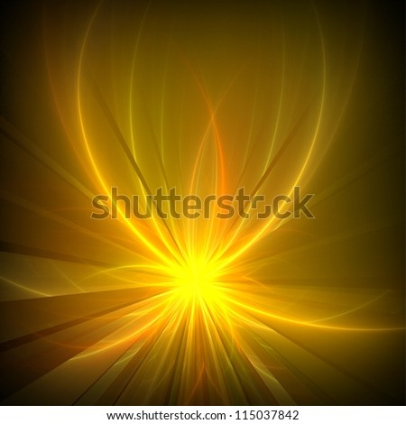 Futuristic golden flower on black background. Abstract background. - stock photo