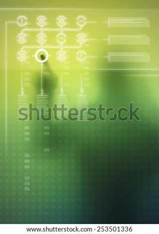 Futuristic green digital display with user interface design and human silhouette in background - stock photo