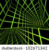 futuristic green on black 3d render tiled labyrinth - stock photo